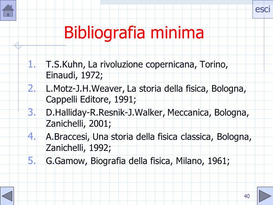 esci 40 Bibliografia minima 1. T.S.Kuhn, La rivoluzione copernicana, Torino, Einaudi, 1972; 2.