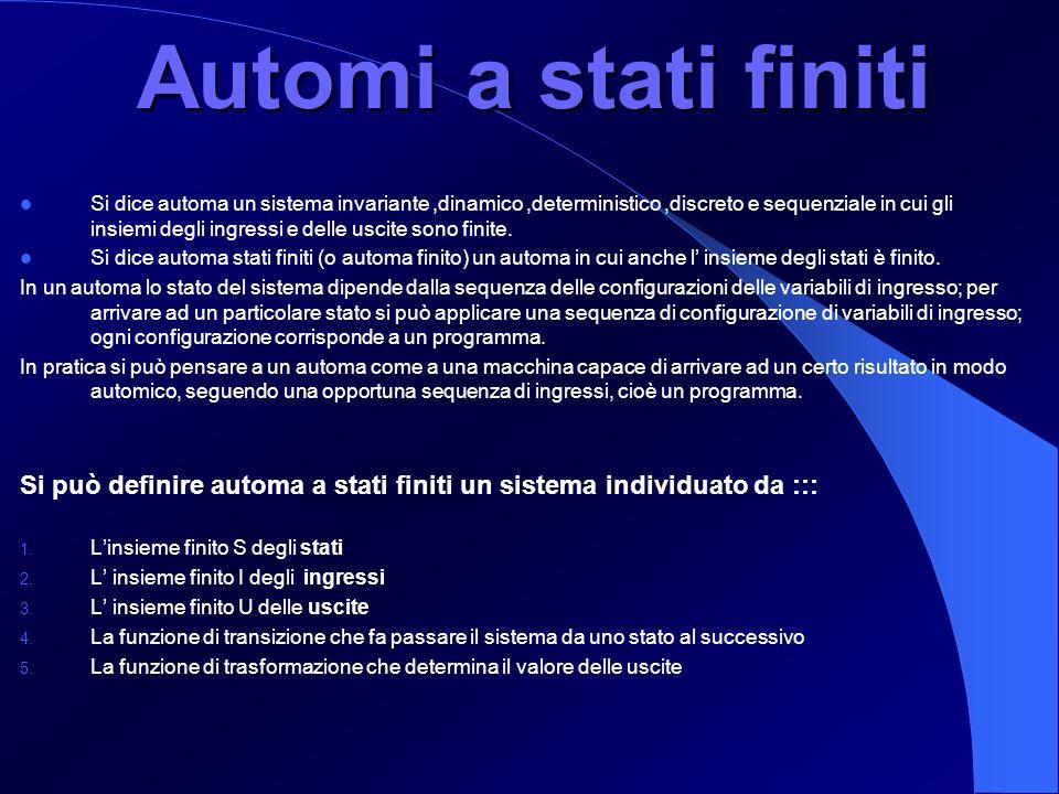 Automi a stati finiti Si dice automa un sistema invariante,dinamico,deterministico,discreto e sequenziale in cui gli insiemi degli ingressi e delle us