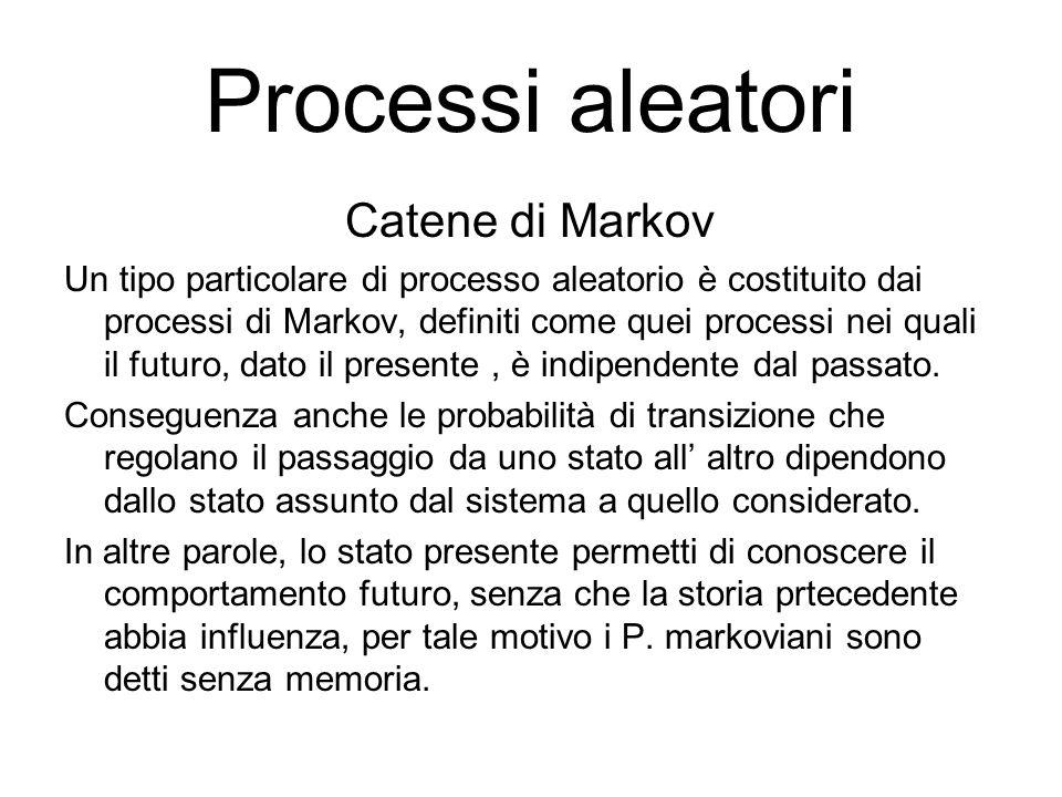 Processi aleatori Catene di Markov Un tipo particolare di processo aleatorio è costituito dai processi di Markov, definiti come quei processi nei qual