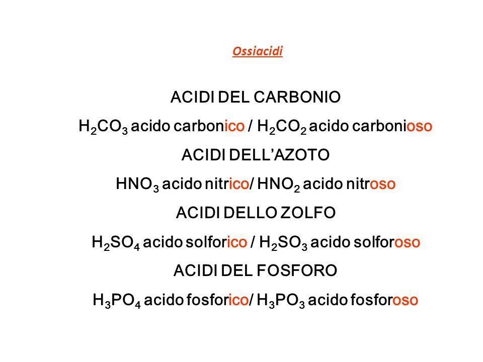 Ossiacidi ACIDI DEL CARBONIO H 2 CO 3 acido carbonico / H 2 CO 2 acido carbonioso ACIDI DELLAZOTO HNO 3 acido nitrico/ HNO 2 acido nitroso ACIDI DELLO