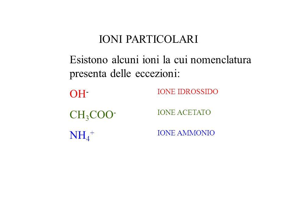 IONI PARTICOLARI Esistono alcuni ioni la cui nomenclatura presenta delle eccezioni: OH -IONE IDROSSIDO CH 3 COO -IONE ACETATO NH 4 +IONE AMMONIO