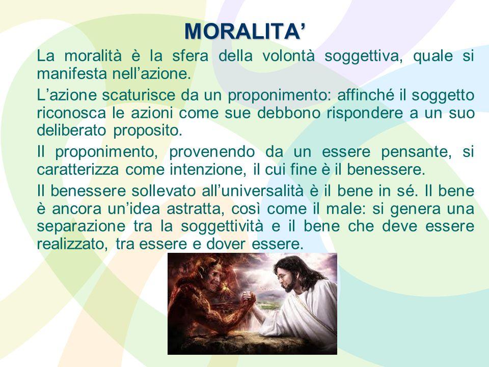 MORALITA La moralità è la sfera della volontà soggettiva, quale si manifesta nellazione. Lazione scaturisce da un proponimento: affinché il soggetto r