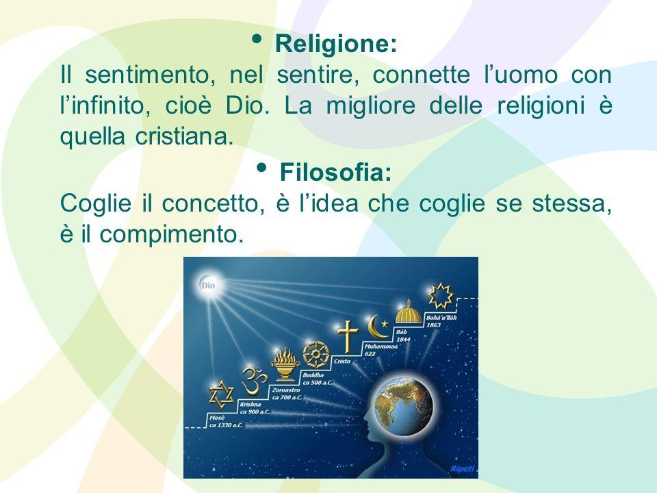 Religione: Il sentimento, nel sentire, connette luomo con linfinito, cioè Dio. La migliore delle religioni è quella cristiana. Filosofia: Coglie il co