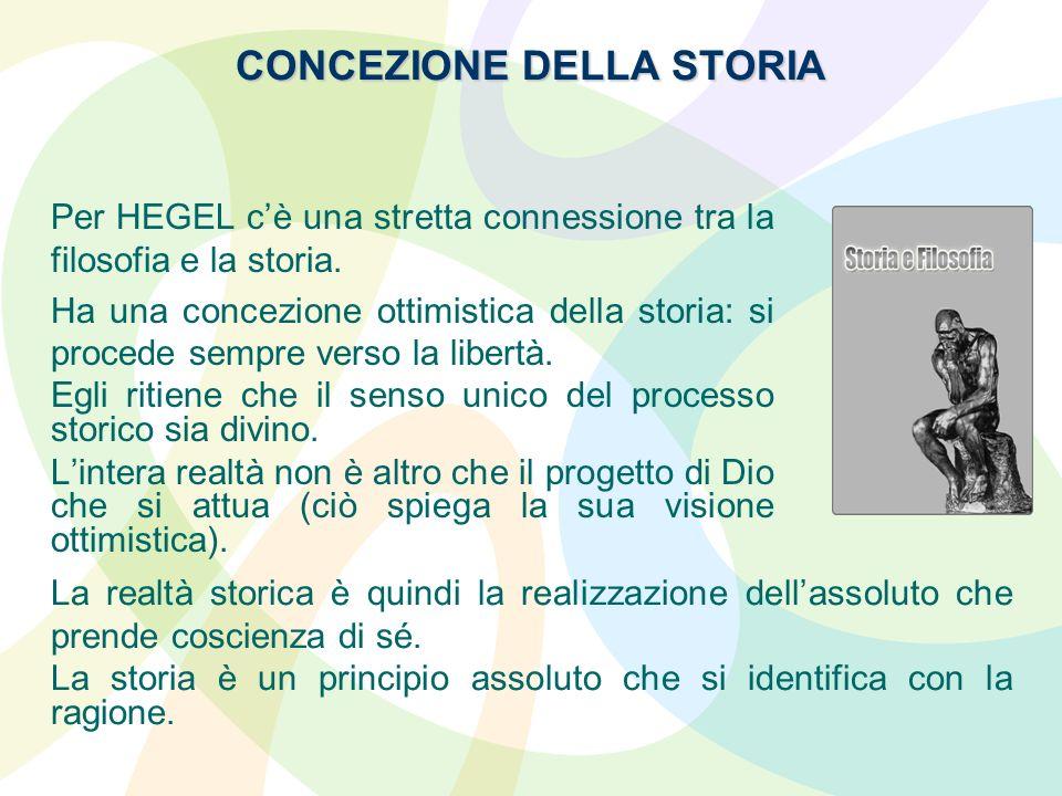 CONCEZIONE DELLA STORIA Per HEGEL cè una stretta connessione tra la filosofia e la storia. Ha una concezione ottimistica della storia: si procede semp