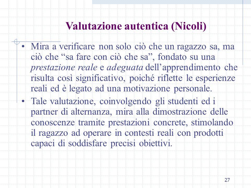 27 Valutazione autentica (Nicoli) Mira a verificare non solo ciò che un ragazzo sa, ma ciò che sa fare con ciò che sa, fondato su una prestazione real