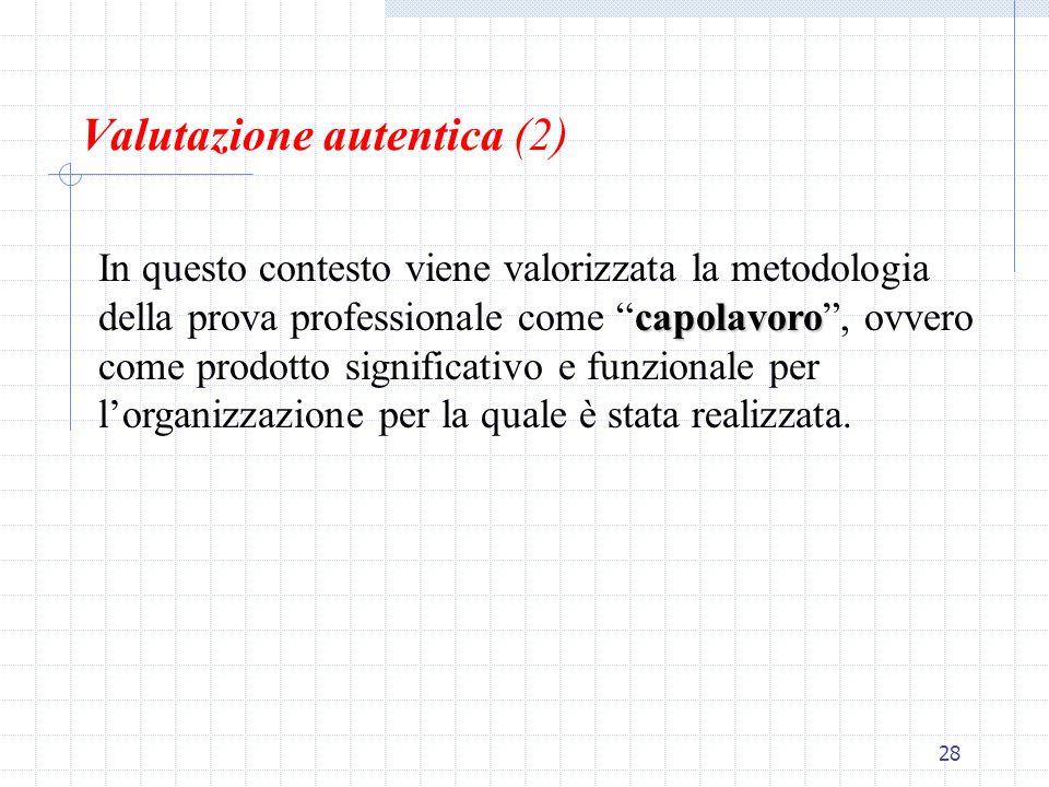 28 Valutazione autentica (2) capolavoro In questo contesto viene valorizzata la metodologia della prova professionale come capolavoro, ovvero come pro