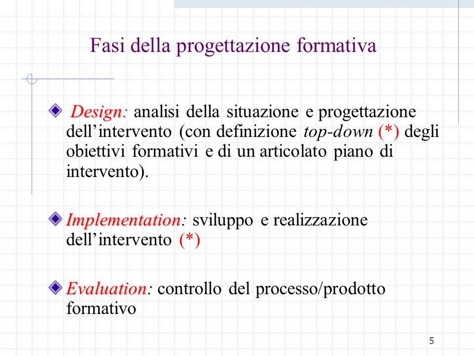 5 Fasi della progettazione formativa Design: Design: analisi della situazione e progettazione dellintervento (con definizione top-down (*) degli obiet