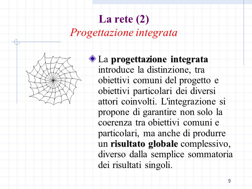9 La rete (2) Progettazione integrata progettazione integrata risultato globale La progettazione integrata introduce la distinzione, tra obiettivi com