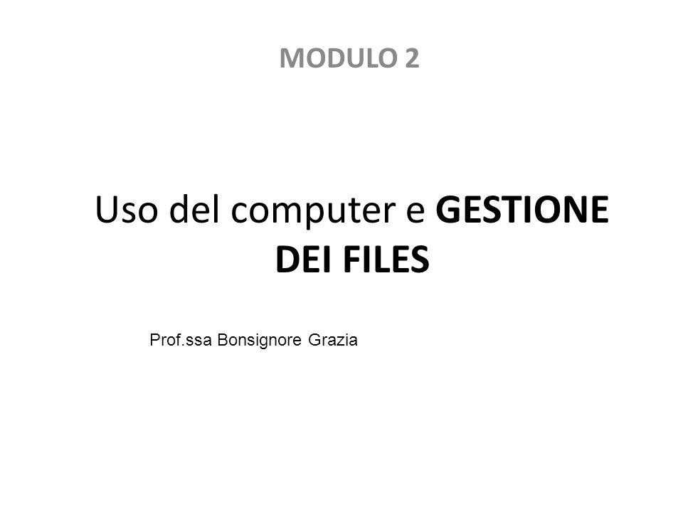 Uso del computer e GESTIONE DEI FILES MODULO 2 Prof.ssa Bonsignore Grazia