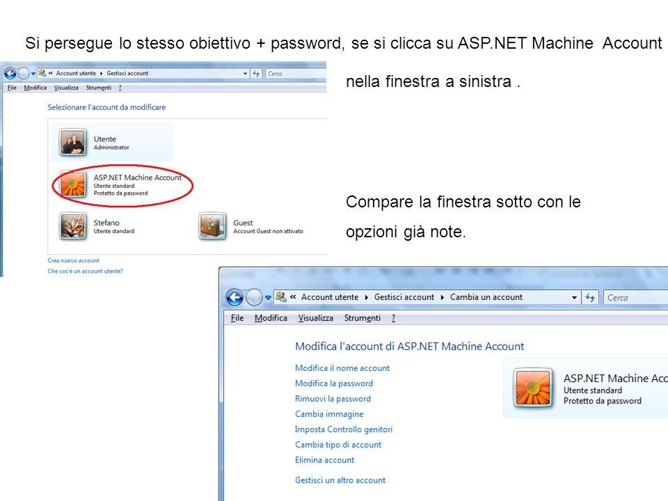 Si persegue lo stesso obiettivo + password, se si clicca su ASP.NET Machine Account nella finestra a sinistra. Compare la finestra sotto con le opzion