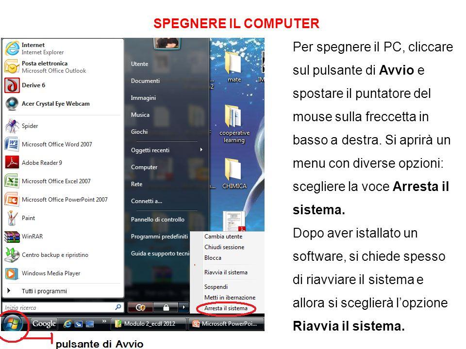 SPEGNERE IL COMPUTER Per spegnere il PC, cliccare sul pulsante di Avvio e spostare il puntatore del mouse sulla freccetta in basso a destra. Si aprirà