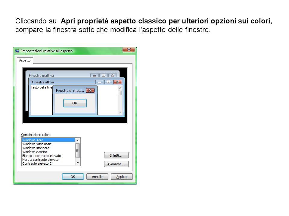 Cliccando su Apri proprietà aspetto classico per ulteriori opzioni sui colori, compare la finestra sotto che modifica laspetto delle finestre.
