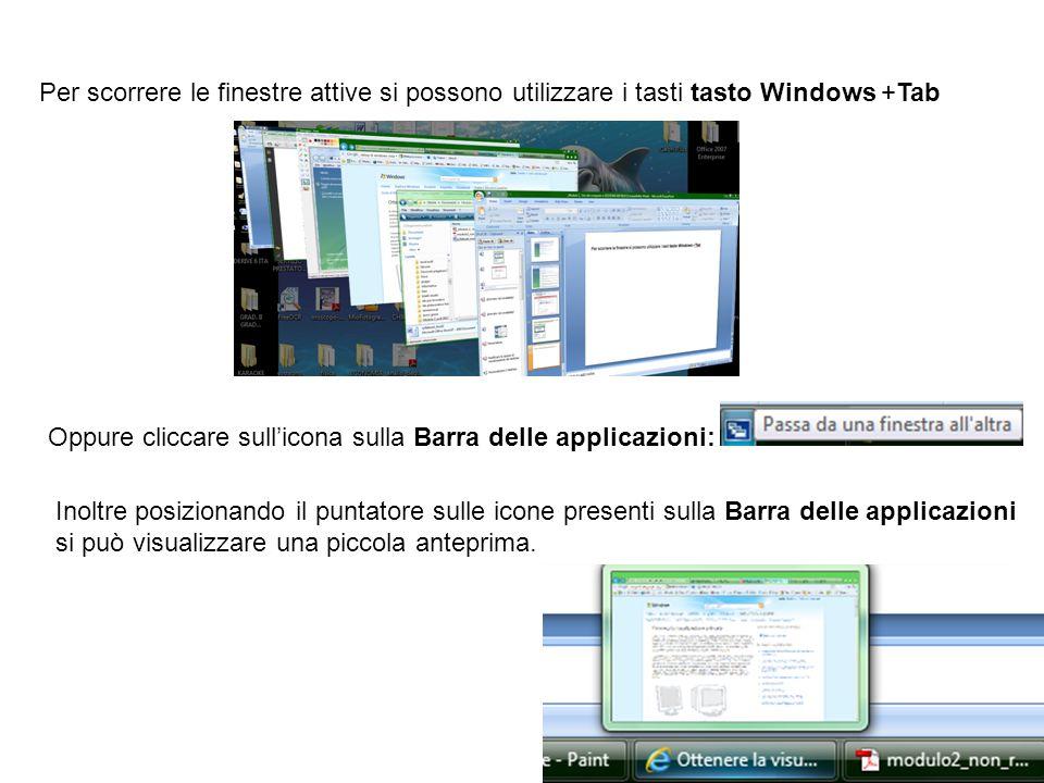 Per scorrere le finestre attive si possono utilizzare i tasti tasto Windows +Tab Oppure cliccare sullicona sulla Barra delle applicazioni: Inoltre pos