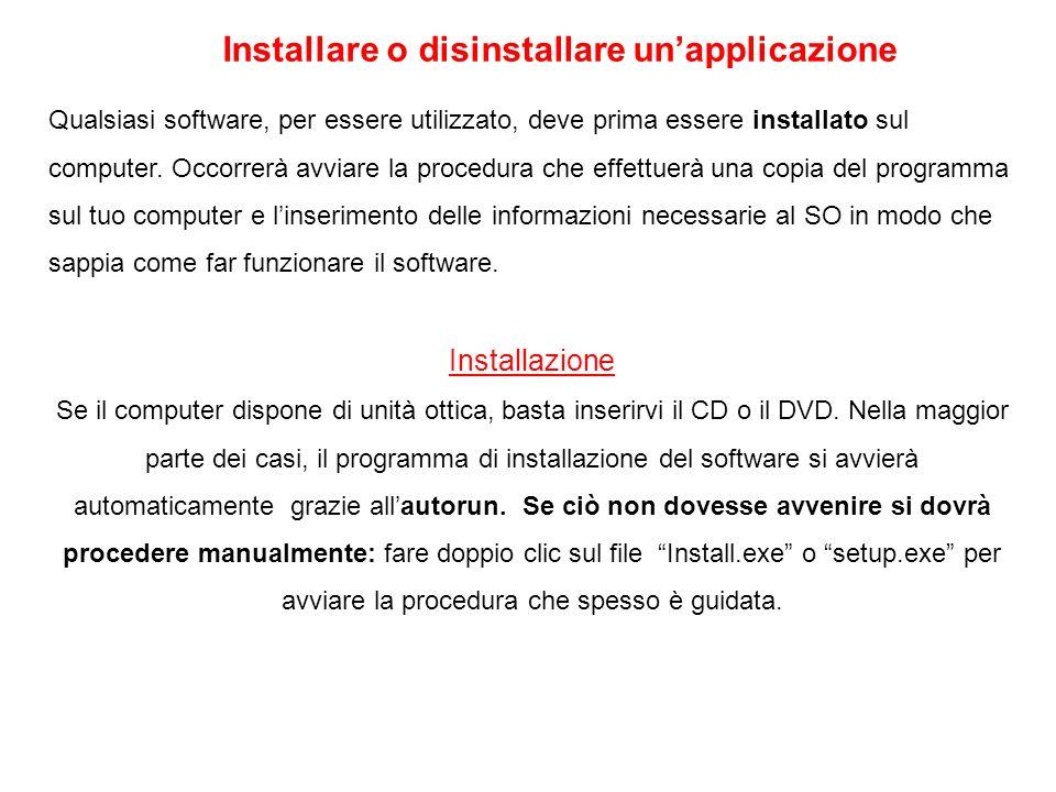 Installare o disinstallare unapplicazione Qualsiasi software, per essere utilizzato, deve prima essere installato sul computer. Occorrerà avviare la p
