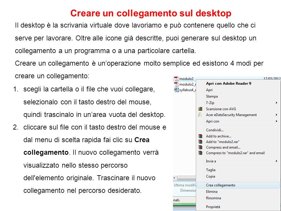 Il desktop è la scrivania virtuale dove lavoriamo e può contenere quello che ci serve per lavorare. Oltre alle icone già descritte, puoi generare sul