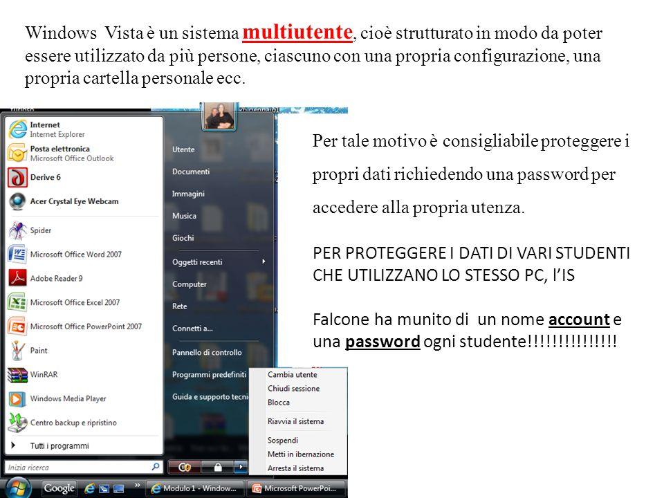 Windows Vista è un sistema multiutente, cioè strutturato in modo da poter essere utilizzato da più persone, ciascuno con una propria configurazione, u