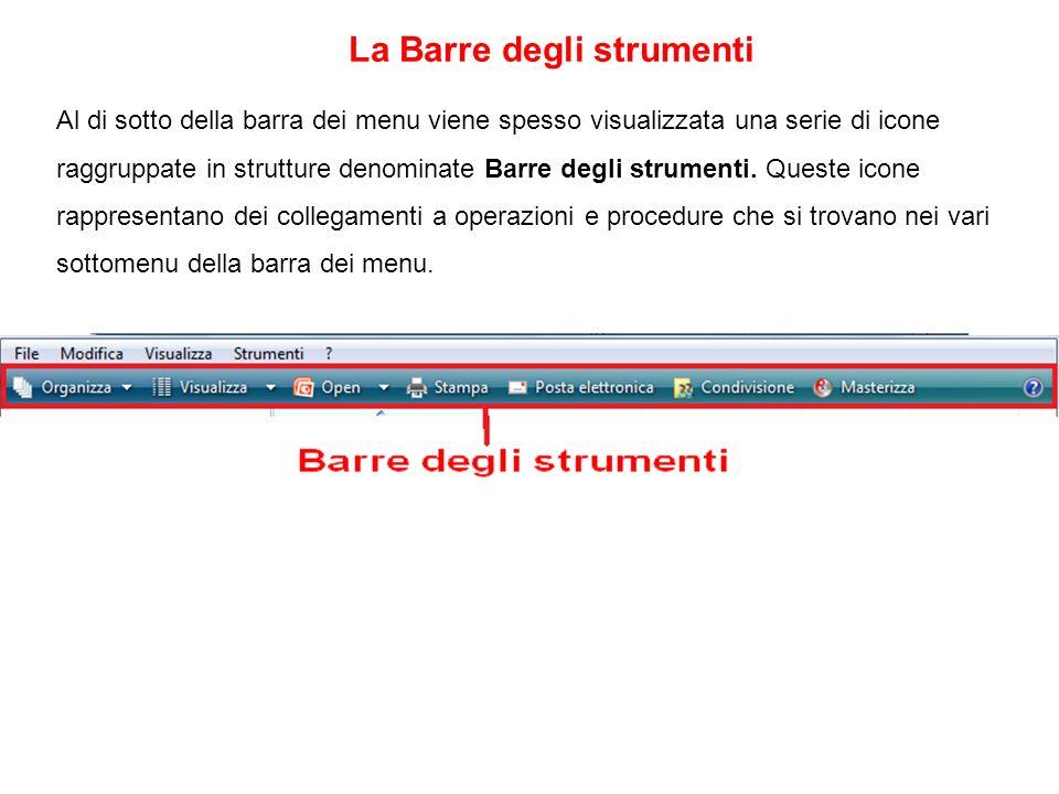Al di sotto della barra dei menu viene spesso visualizzata una serie di icone raggruppate in strutture denominate Barre degli strumenti. Queste icone