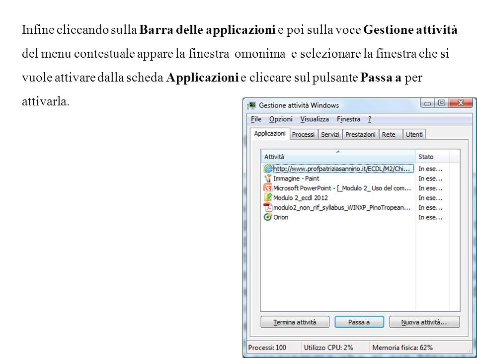 Infine cliccando sulla Barra delle applicazioni e poi sulla voce Gestione attività del menu contestuale appare la finestra omonima e selezionare la fi