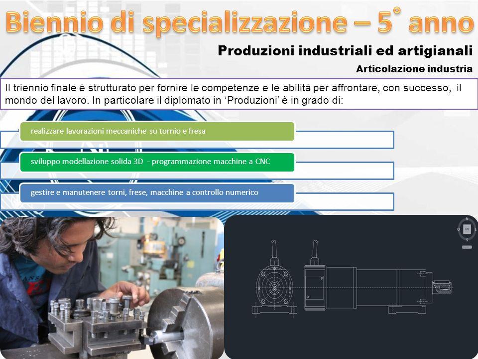 Produzioni industriali ed artigianali Articolazione industria Il triennio finale è strutturato per fornire le competenze e le abilità per affrontare,