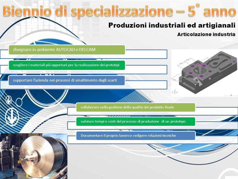 Produzioni industriali ed artigianali Articolazione industria disegnare in ambiente AUTOCAD e DELCAM scegliere i materiali più opportuni per la realiz