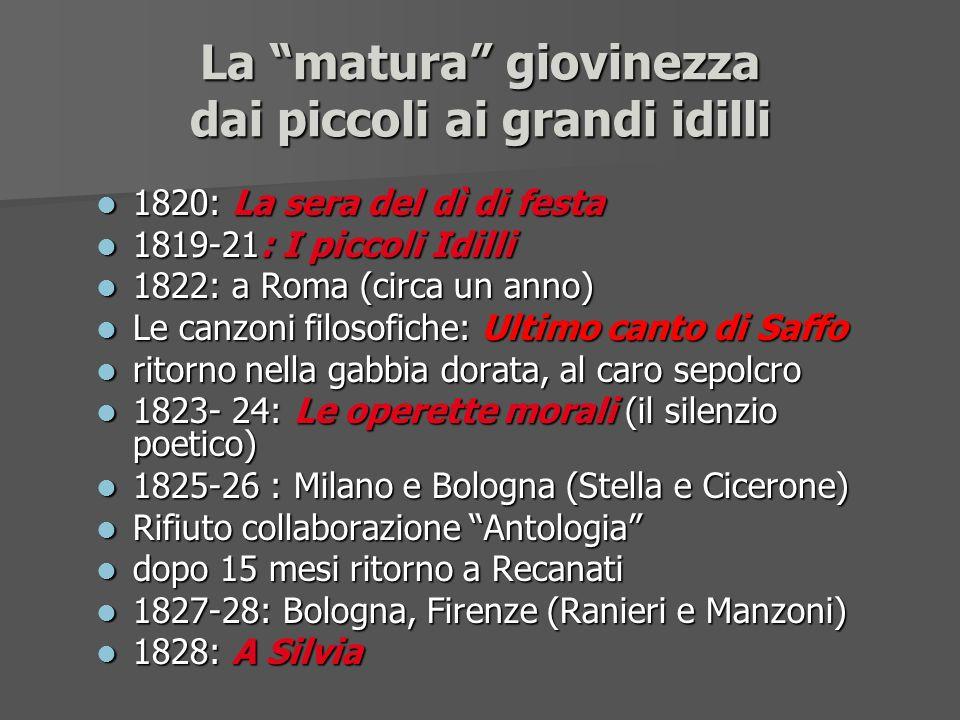 La matura giovinezza dai piccoli ai grandi idilli l 1820: La sera del dì di festa l 1819-21: I piccoli Idilli l 1822: a Roma (circa un anno) l Le canz