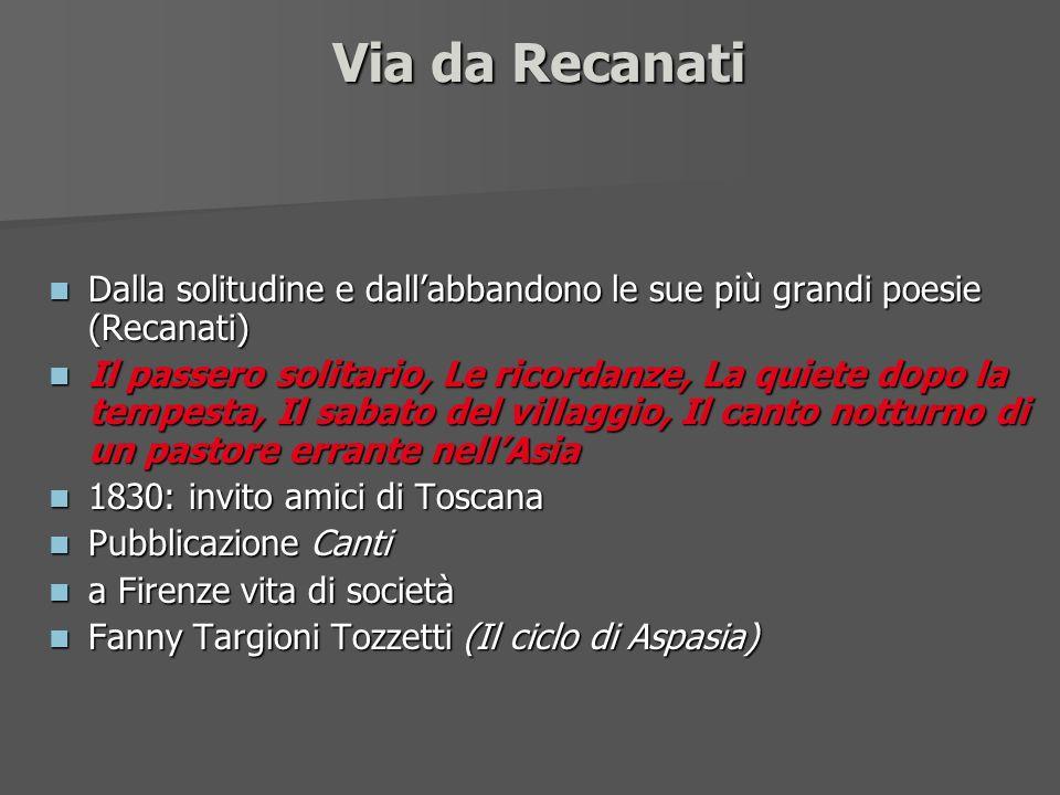 Via da Recanati Dalla solitudine e dallabbandono le sue più grandi poesie (Recanati) Dalla solitudine e dallabbandono le sue più grandi poesie (Recana