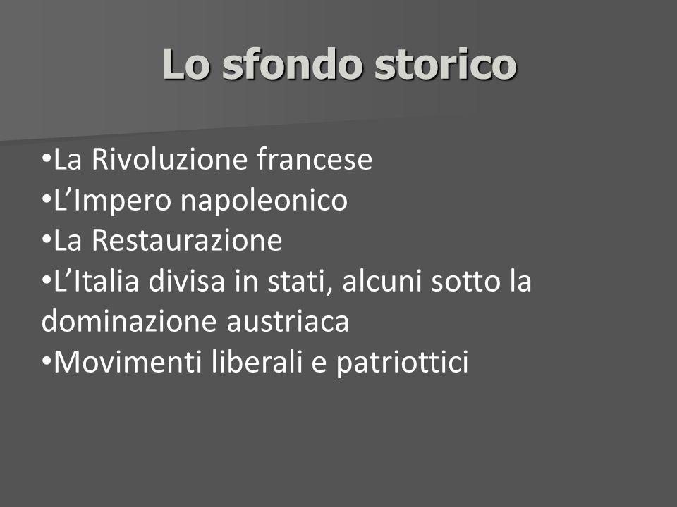 Lo sfondo storico La Rivoluzione francese LImpero napoleonico La Restaurazione LItalia divisa in stati, alcuni sotto la dominazione austriaca Moviment
