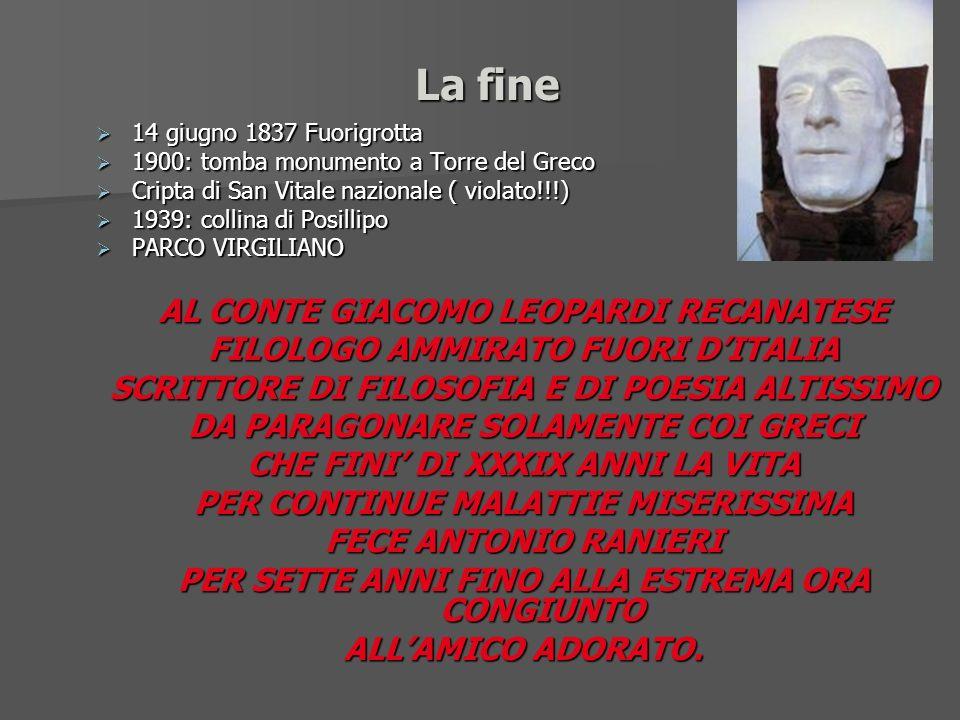 La fine 14 giugno 1837 Fuorigrotta 14 giugno 1837 Fuorigrotta 1900: tomba monumento a Torre del Greco 1900: tomba monumento a Torre del Greco Cripta d
