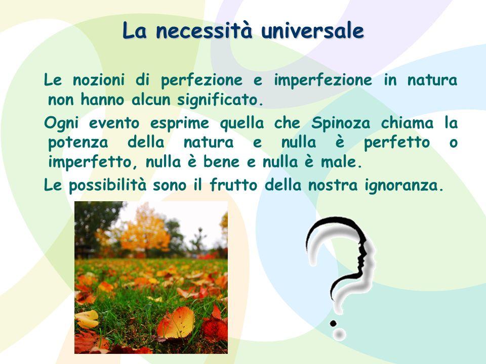 La necessità universale Le nozioni di perfezione e imperfezione in natura non hanno alcun significato. Ogni evento esprime quella che Spinoza chiama l