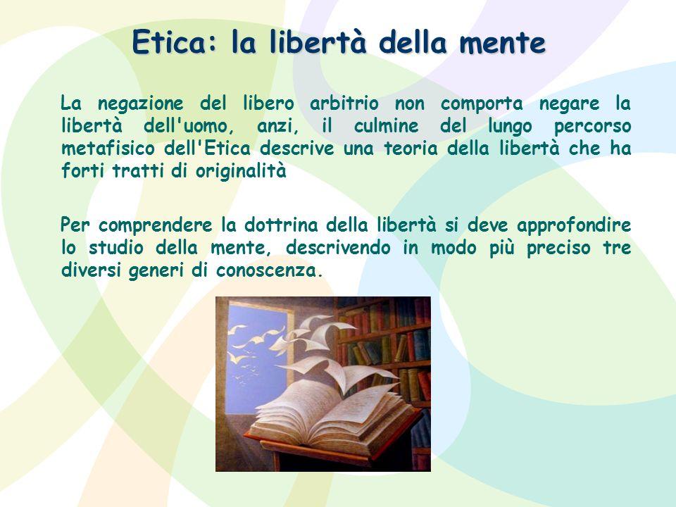Etica: la libertà della mente La negazione del libero arbitrio non comporta negare la libertà dell'uomo, anzi, il culmine del lungo percorso metafisic