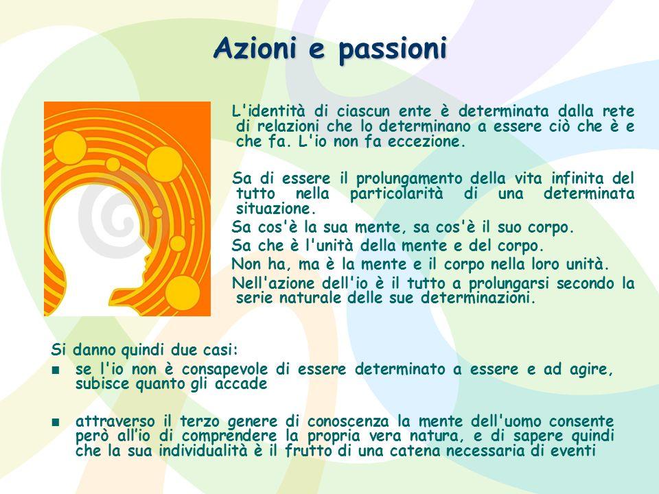 Azioni e passioni L'identità di ciascun ente è determinata dalla rete di relazioni che lo determinano a essere ciò che è e che fa. L'io non fa eccezio
