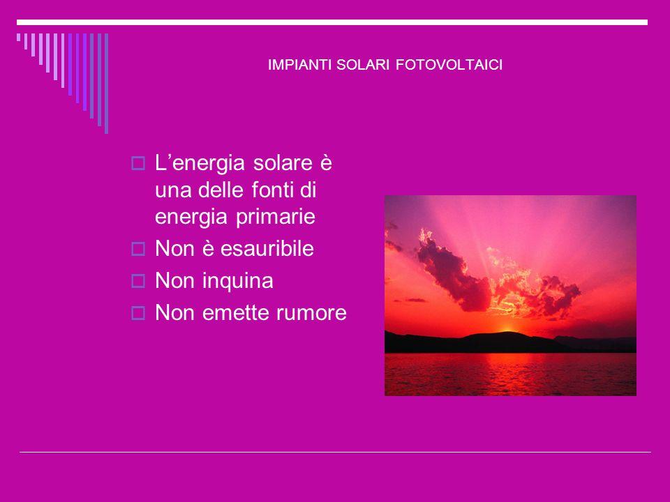 IMPIANTI SOLARI FOTOVOLTAICI Non tutta lenergia liberata dal Sole e intercettata dagli strati più elevati della nostra atmosfera raggiunge però la superficie della Terra: una parte viene riflessa nuovamente nello spazio; unaltra parte viene dispersa e diffusa in tutte le direzioni dalle molecole daria e dalle particelle di polvere dellatmosfera (tra l altro, la radiazione diffusa è la causa del colore azzurro del cielo); una parte ancora viene assorbita dal vapore acqueo, dallanidride carbonica e dallozono.