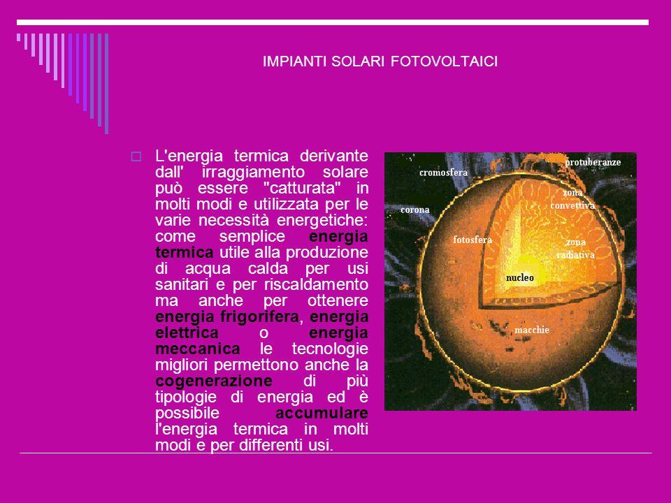 IMPIANTI SOLARI FOTOVOLTAICI Fino a quando la cella resta esposta alla luce, l elettricità fluisce con regolarità sotto forma di corrente continua