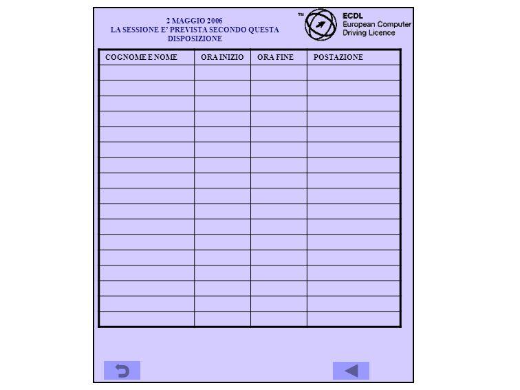 20 GIUGNO 2006 LA SESSIONE E PREVISTA SECONDO QUESTA DISPOSIZIONE COGNOME E NOMEORA INIZIOORA FINEPOSTAZIONE PLACIDI ATTILIO15.0015.45LABSIS01