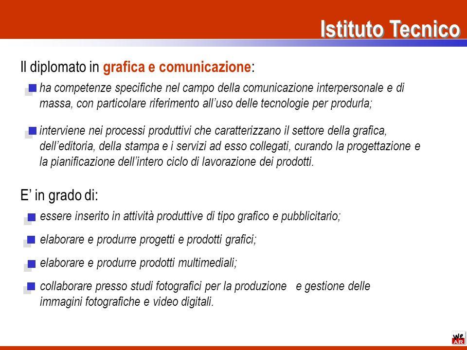 Istituto Tecnico Il diplomato in grafica e comunicazione : ha competenze specifiche nel campo della comunicazione interpersonale e di massa, con parti