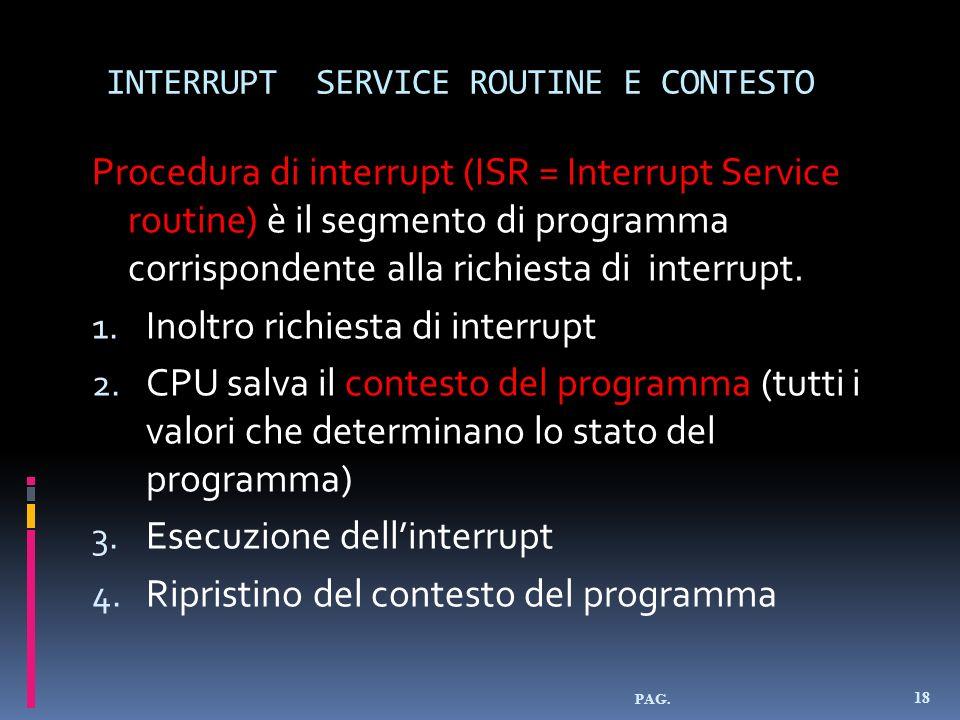 INTERRUPT SERVICE ROUTINE E CONTESTO Procedura di interrupt (ISR = Interrupt Service routine) è il segmento di programma corrispondente alla richiesta