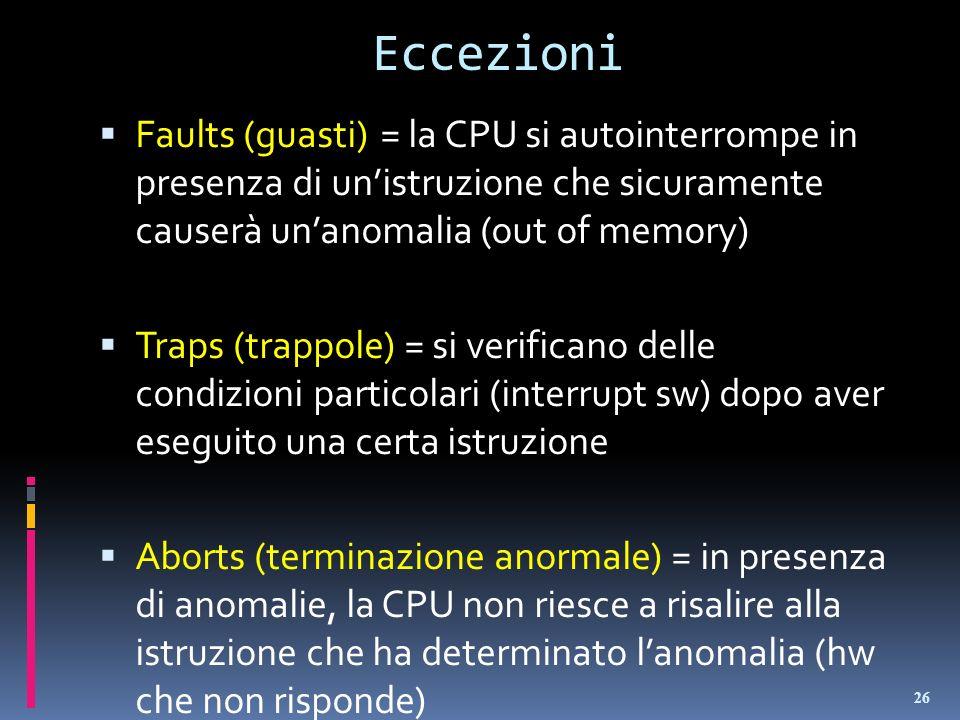 Eccezioni Faults (guasti)= la CPU si autointerrompe in presenza di unistruzione che sicuramente causerà unanomalia (out of memory) Traps (trappole) =