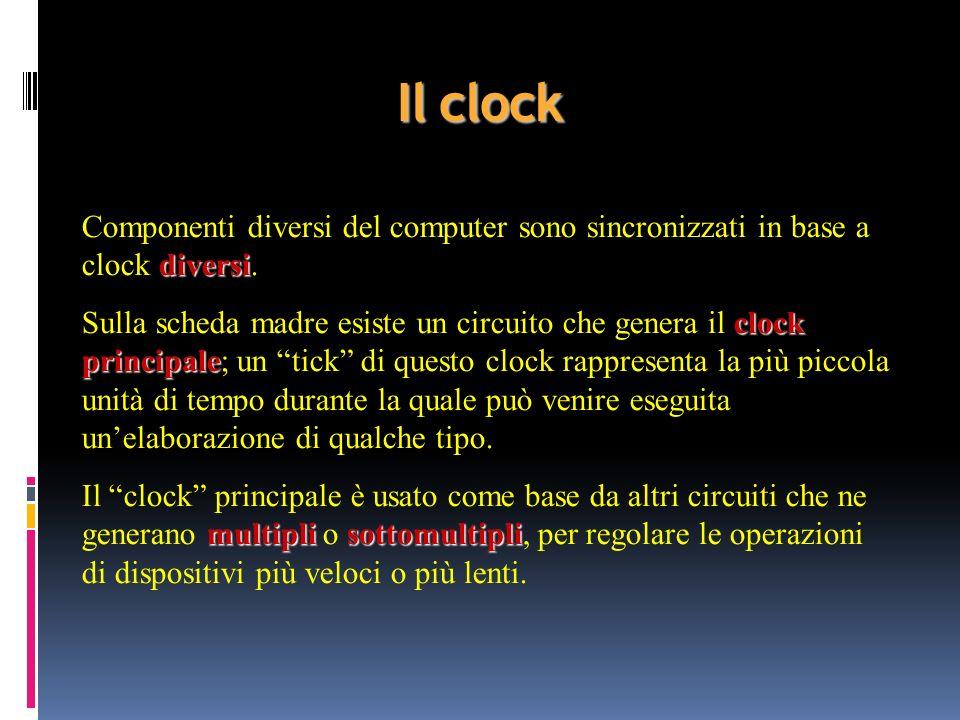 Il clock diversi Componenti diversi del computer sono sincronizzati in base a clock diversi. clock principale Sulla scheda madre esiste un circuito ch