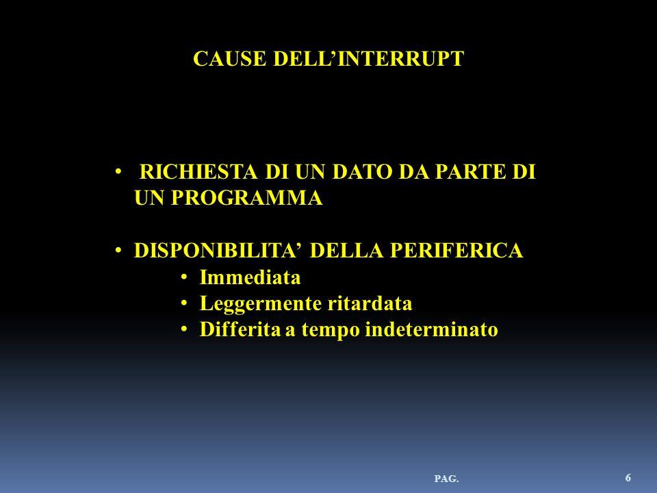 6 CAUSE DELLINTERRUPT RICHIESTA DI UN DATO DA PARTE DI UN PROGRAMMA DISPONIBILITA DELLA PERIFERICA Immediata Leggermente ritardata Differita a tempo i