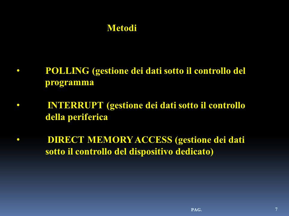 PAG. 7 Metodi POLLING (gestione dei dati sotto il controllo del programma INTERRUPT (gestione dei dati sotto il controllo della periferica DIRECT MEMO