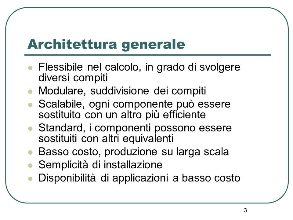 3 Architettura generale Flessibile nel calcolo, in grado di svolgere diversi compiti Modulare, suddivisione dei compiti Scalabile, ogni componente può