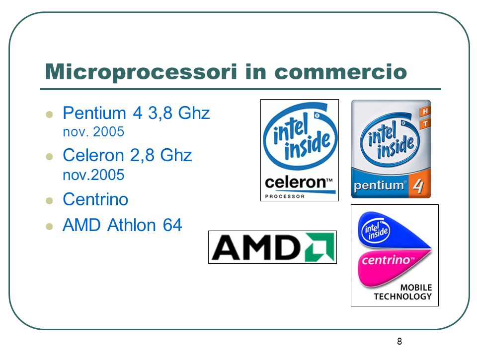 8 Microprocessori in commercio Pentium 4 3,8 Ghz nov. 2005 Celeron 2,8 Ghz nov.2005 Centrino AMD Athlon 64