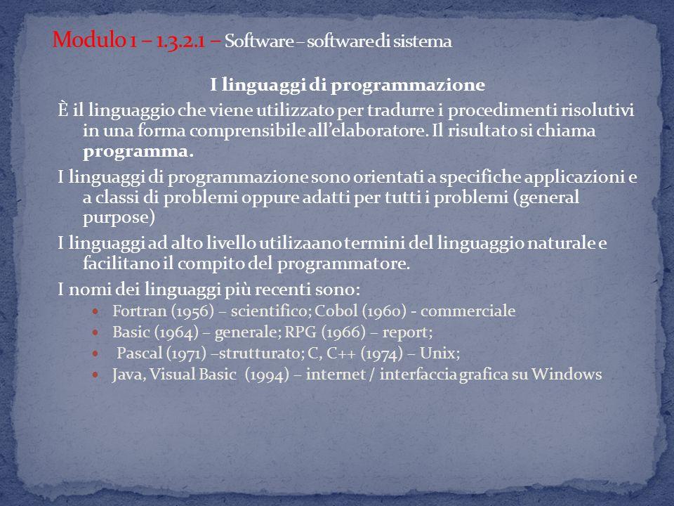 I linguaggi di programmazione È il linguaggio che viene utilizzato per tradurre i procedimenti risolutivi in una forma comprensibile allelaboratore.