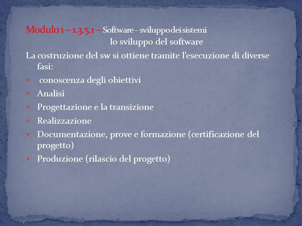 lo sviluppo del software La costruzione del sw si ottiene tramite lesecuzione di diverse fasi: conoscenza degli obiettivi Analisi Progettazione e la transizione Realizzazione Documentazione, prove e formazione (certificazione del progetto) Produzione (rilascio del progetto)