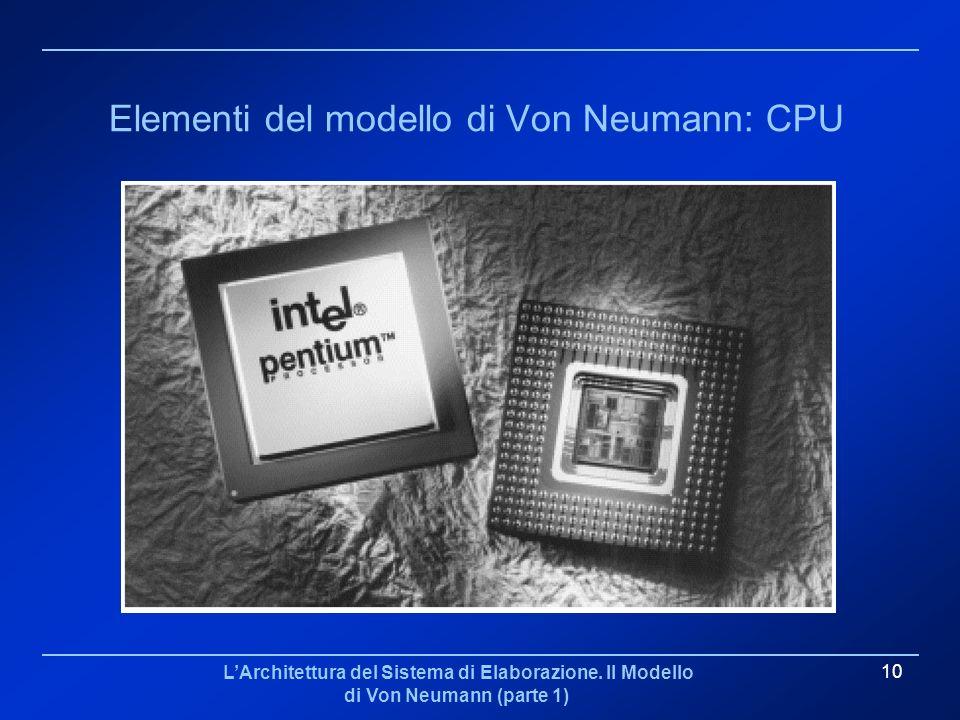 LArchitettura del Sistema di Elaborazione. Il Modello di Von Neumann (parte 1) 10 Elementi del modello di Von Neumann: CPU