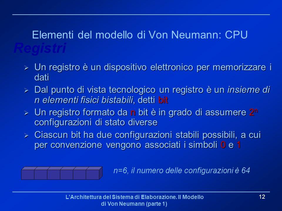LArchitettura del Sistema di Elaborazione. Il Modello di Von Neumann (parte 1) 12 Elementi del modello di Von Neumann: CPU Un registro è un dispositiv