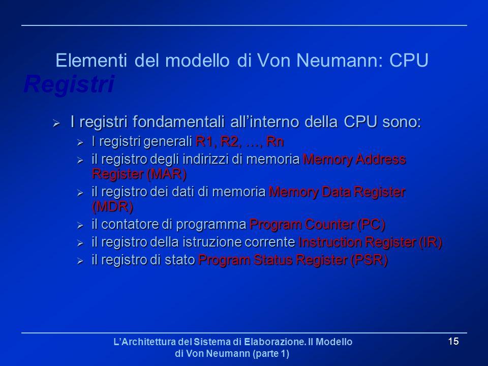 LArchitettura del Sistema di Elaborazione. Il Modello di Von Neumann (parte 1) 15 Elementi del modello di Von Neumann: CPU I registri fondamentali all