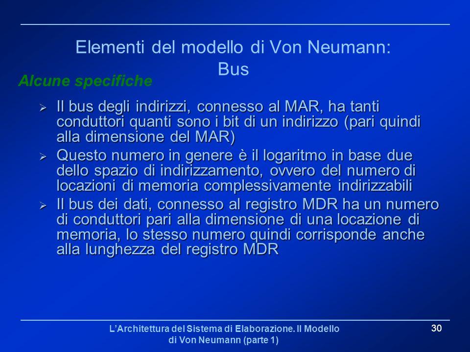 LArchitettura del Sistema di Elaborazione. Il Modello di Von Neumann (parte 1) 30 Elementi del modello di Von Neumann: Bus Il bus degli indirizzi, con