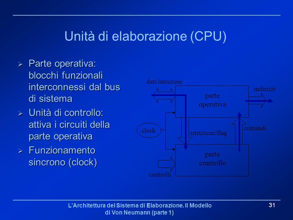 LArchitettura del Sistema di Elaborazione. Il Modello di Von Neumann (parte 1) 31 Unità di elaborazione (CPU) Parte operativa: blocchi funzionali inte