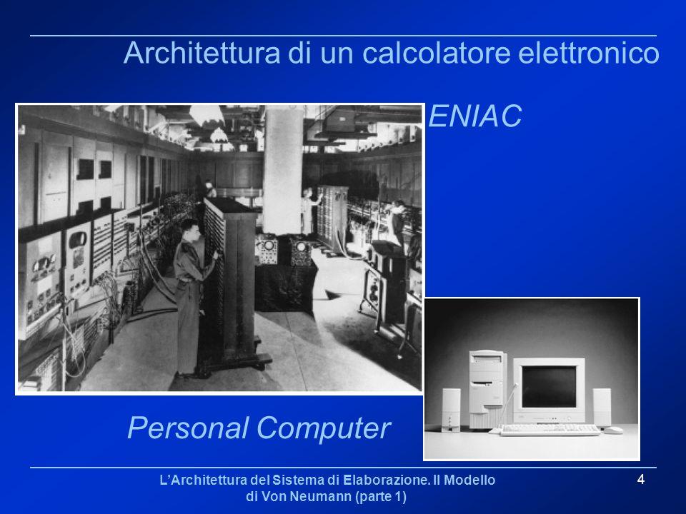 LArchitettura del Sistema di Elaborazione. Il Modello di Von Neumann (parte 1) 4 Architettura di un calcolatore elettronico ENIAC Personal Computer